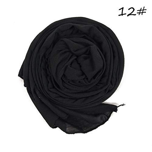 DYSCN-Strickschal für muslimische Frauen, Hijab Turban, islamisches Kopftuch, Damenschal, muslimischer Schal, arabischer Schal, Haubenmütze, schwarz