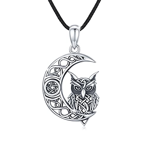 Owl Celtic Crescent Moon Pendant Necklace 925 Sterling Silver Owl Necklace Jewelry for Men Women Gifts