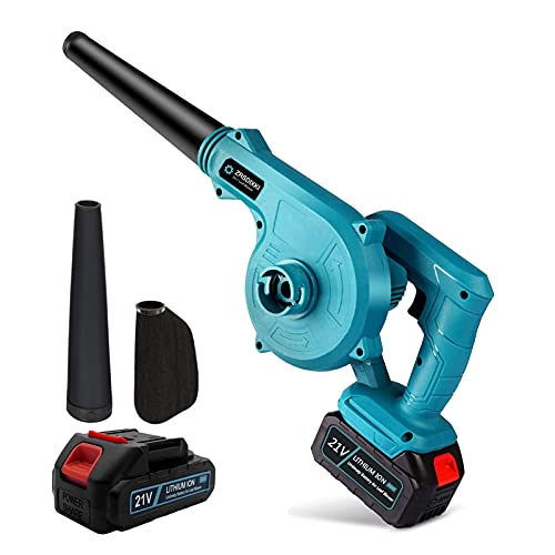 ZRSDIXKI Cordless Leaf Blower and Vacuum 2-in-1 Electric Air Leaf Dust Blower, Max Airspeed 52 m/sec 21V 2.0Ah Li-ion Battery, for Car Home Garden Cleaning