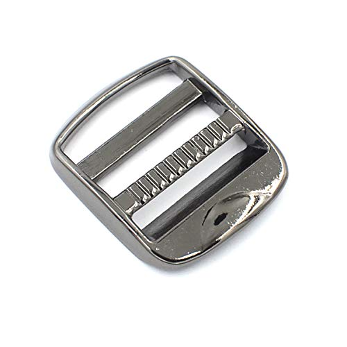 DGOL 10 pcs 1 inch Strong Heavy Shinning Zinc Alloy Ladder Lock Slider Adjustable Webbing Strap Release Buckles (Gunmetal)