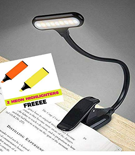 SHOPOPOYE 9 LEDs & 3 Light Modes Rechargeable Clip-on Book Reading Table Lamp