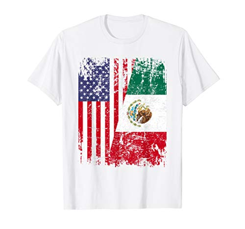 MEXICAN ROOTS   Half American Flag   MEXICO T-Shirt