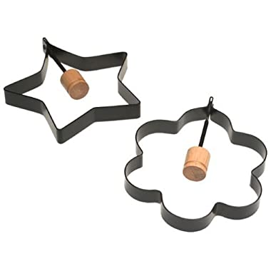 Norpro Nonstick Star and Flower Pancake Egg Rings, Set of 2