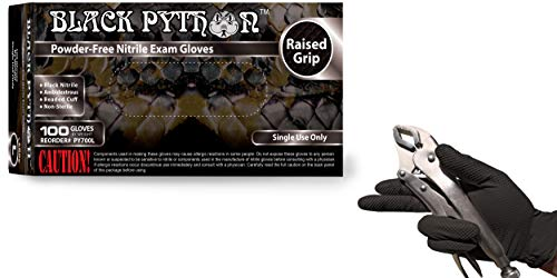 Black Python 7 Mil Thick Heavy Duty Powder Free Nitrile Exam Gloves w/Tactical Grip, (Large (Case of 1000))