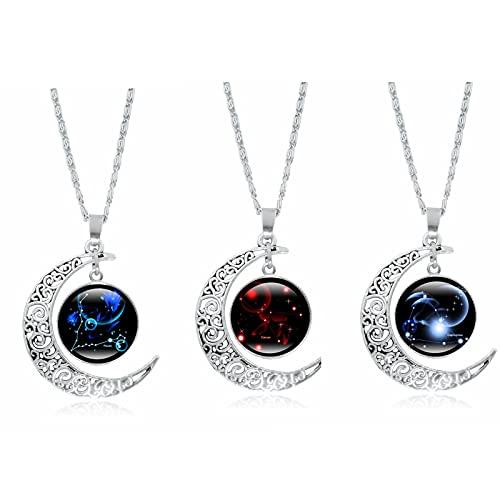 Sterling Silver 12 Constellation Moon Glass Gem Pendant Necklace, Collar De 12 Constelaciones De Luna, Regalos, Galaxia De Astrología (Piscis + Cáncer + Capricornio)