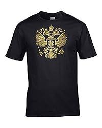 SMURAB RUSSIAN FEDERATION COAT OF ARMS ロシア 国章 メンズ/レディース Tシャツ/夏服 スポーツ Tシャツ ブラック/半袖 Tシャ