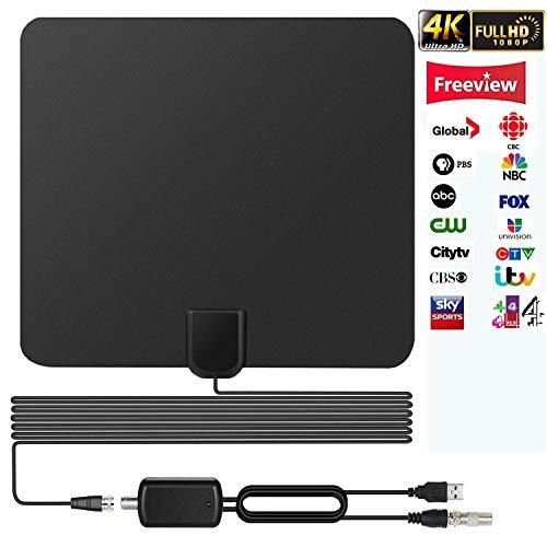 Antenne TV Intérieur Puissante, 2019 Version Amplifiée 65+ Miles Range Antenne TNT Intérieur avec Signal Amplificateur Booster et 16,5FT Câble Coaxial pour DVB-T TNT Numérique et Analogique TV Signaux