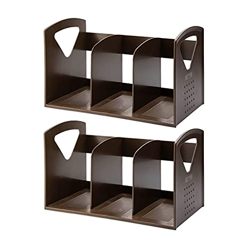 Haodan electronics Cookbook Holders Simple and Large Capacity Plastic Desk Organizer,Multi-function Turdy Vertical Folder for Office Organization and Storage Book Stand (Color : Brown, Size : B)