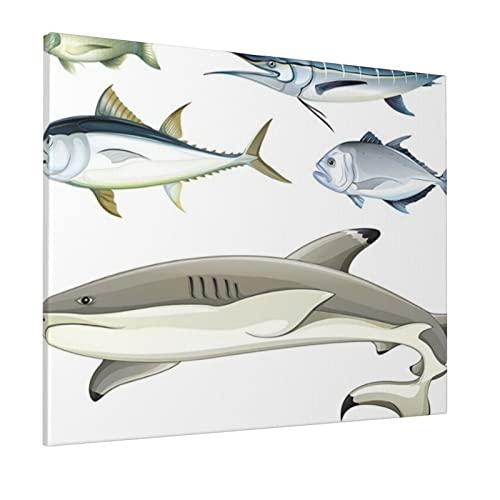 M-shop Pintura 40,6 x 50,8 cm océano Animal Decoración Varios Pez Depredadores Con Pez Espada Piraña Acordato Imagen Acuática Gris Plata Panorámica Lienzo Arte de Pared
