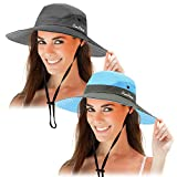 2 Packungen Sonnenschutzhut Mesh Breite Krempe Sonnenhut Outdoor Faltbarer Strand Wandern Angeln Sommerhut 56-58 cm (Blau und Reines Grau)