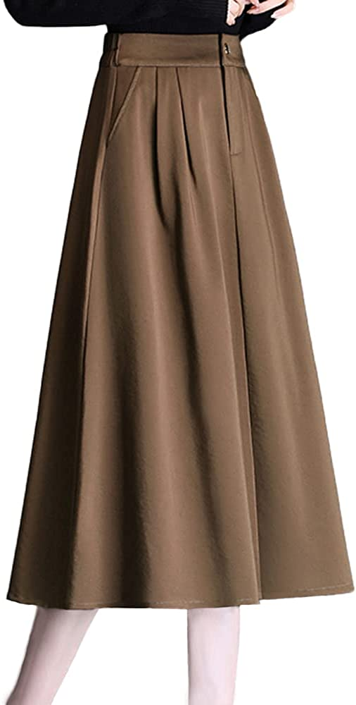 ATHX Women's High Waist A-Line Pleated Solid Flared Midi Skirt with Pockets