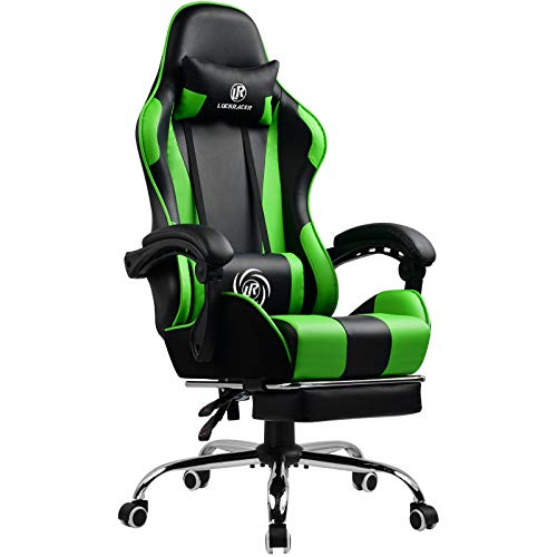 LUCKRACER Gaming Stuhl Massage mit Fußstütze Bürostuhl Massage Lendenkissen Drehstuhl Racing Armlehne PU Leder hohe Rückenlehne (grün)
