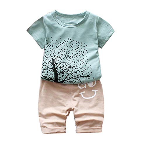 Bold N Elegant Green Beige Graphic Tree Print Infant Toddler Baby Boy Girl T-Shirt 3/4 Ankle Pant Summer Clothing Set