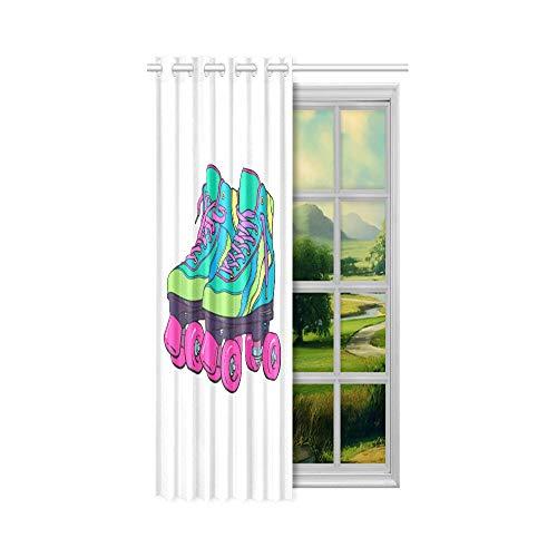 XiexHOME Amerikanische Fenstervorhänge Niedliche Retro Rollschuhe Den Fenstervorhänge 52x63 Zoll (132x160cm) 1 Panel Blackout Tülle Vorhang für Schlafzimmer Wohnzimmer
