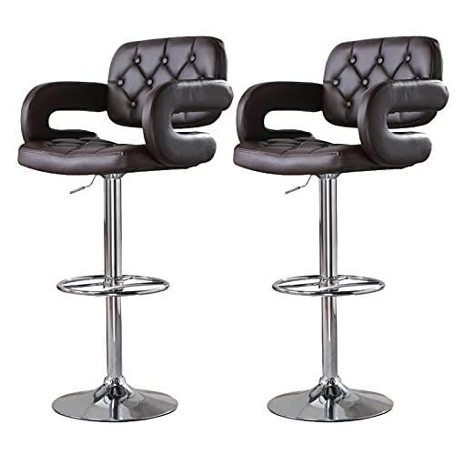 WWJZXC Taburete de Bar con Respaldo Alto y Altura Ajustable giratoria de 360˚ (24.5'-33') con Respaldo Alto y reposapiés Estable, Juego de 2 sillas de mostrador de Cocina (marrón)