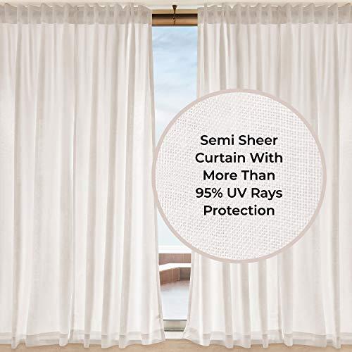 D'Moksha Homes 100% Pure Hemp Linen Semi Sheer Curtain White - 52x63 inch. UV Ray Protection. Indoor, Outdoor use, Living, Dining, Kids Room, Kitchen, Deck, Patio, Cabana, Gazebo. 1 Panel per Box.