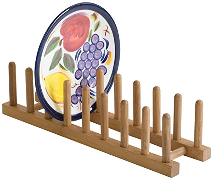 Lipper 887 Bamboo Plate Rack -Pot Lid Holder