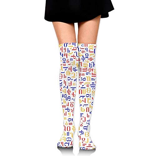Hdadwy Alfabeto armenio Mujer Damas Mujer Chica Adolescente Nio Juventud Pierna Alto Medio muslo Rodilla alta Tubo largo Sobre la rodilla Medias Disfraz Regalos Ropa Vestidos Ropa Thy Thi Hi Attire