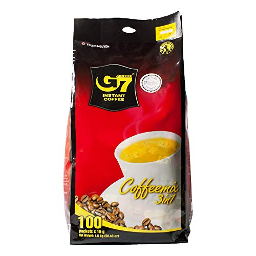 Trung Nguyen - G7 3 In 1 Instant Coffee - 100 Packets | Roasted Ground Coffee Blend with Creamer and Sugar, Suitable for Most Coffee Brewing Methods, (16gr/stick)