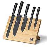 Richardson Sheffield Ceppo magnetico NOX, con 5 coltelli da spicco, coltello Santoku (1 corto, 1 lungo), coltello multiuso, coltello da pane, blocco portacoltelli magnetico, portacoltelli