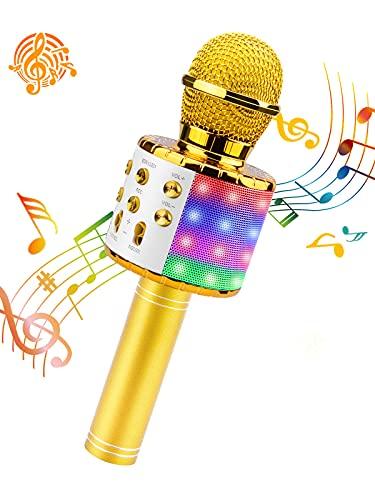 ShinePick Micrófono Karaoke Bluetooth, Microfono Inalámbrico Karaoke Portátil con Altavoz para Niños Canta Partido Musica, Compatible con Android/iOS PC, AUX o Teléfono Inteligente (Dorado)