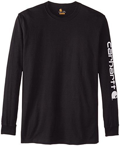 Carhartt Men's Big & Tall Signature Sleeve Logo Long Sleeve T-Shirt ,Black,X-Large/Tall