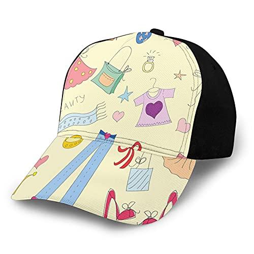 Gorra de béisbol de bajo perfil ajustable de sarga lavada, para hombres y mujeres, para ir de compras, temática de Doodle Artículos de princesa, belleza, corazones y estrellas