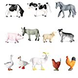 Farm Animals Toys Statues , Mini Realistic Simulation Plastic Learning Educational Playset Party Favors Bath Toys Cupcake Toppers 12 Animal Statues Horse, Dog, Pig, Cow, Chicken, Duck, Goose Toy