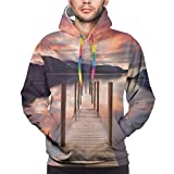 Men's Hoodies Sweatshirts,A Flooded Jetty In Derwent Water Lake District England Sunset Morning Photo,XX-Large