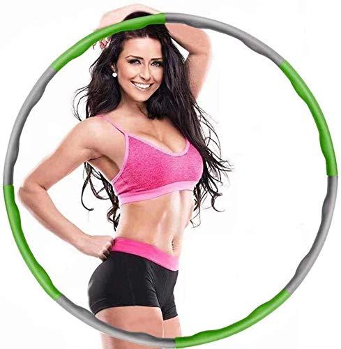 Hula Hoop, Hoola Hoop Reifen erwachseneZur Gewichtsreduktion und Massage, 6-8 Segmente Abnehmbarer Hula Hoop Reifen Geeignet Für Fitness/Sport/Zuhause/Büro/Bauchformung mit Mini Bandmaß (Green)