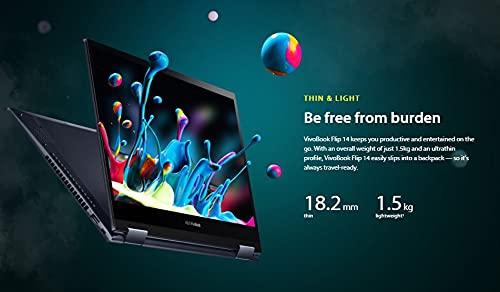 ASUS VivoBook Flip 14 (2021), AMD Ryzen55500U, 14-inch FHD Touch 2-in-1 Laptop (8GB RAM/512GB SSD/Integrated Graphics/Office 2019/Windows 10/Bespoke Black/1.5 Kg), TM420UA-EC501TS