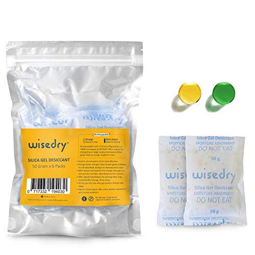 50 Gramm [6PACKS] wiederaufladbare Silikagel-Beutel Trockenmittel-Pakete mit schnellem Reaktivieren in 2mins Luftentfeuchter Orange zu Grün anzeigend