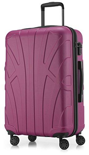 Suitline Hartschalen-Koffer Koffer Trolley Rollkoffer Reisekoffer, TSA, 66 cm, ca. 58 Liter, 100% ABS Matt, Magenta