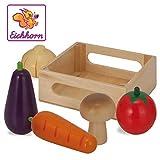 Eichhorn 100003735 - Holzbox mit Gemüse, enthält Karotte, Aubergine, Tomate, Zwiebel, Pilz, 13x12,5x5cm, 6-tlg., Birkenholz
