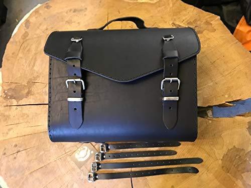 ORLETANOS Bruno Black bagagekoffer compatibel met Roller Sissybar Trike V-Rod Vespa HD Nieuw Loki rol bagagerol Quad bagage gereedschapstas zadeltas leren koffer Harley Davidson HD tas leer