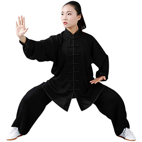 DAZISEN Ropa De Entrenamiento para Artes Marciales - Unisex Tai Chi Ropa Deportiva Manga Larga Chino Tradicional Kung Fu Qi Gong Traje Conjuntos, Negro, US XL=Tag 2XL