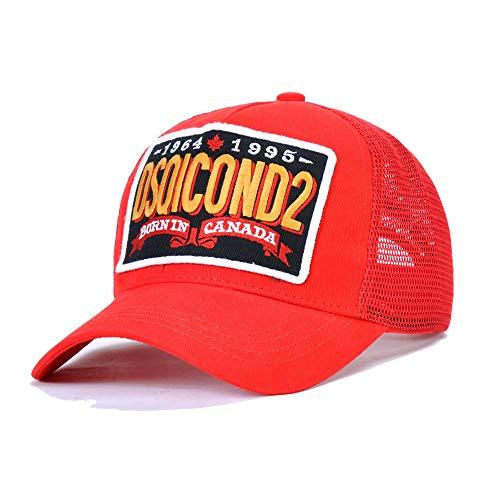 HJG Fashional Baseballkappe mit Mesh, Outdoor-Sport-Jagd Lässige Kleidung Mütze Trucker-Mütze mit Dsquared Stickerei, atmungsaktiv,Rot