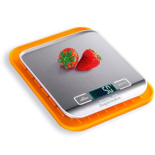 Básculas de cocina digitales Supkitdin, básculas de cocina de acero inoxidable de primera calidad, pantalla LCD, viene con un útil tapete de silicona (plateado)