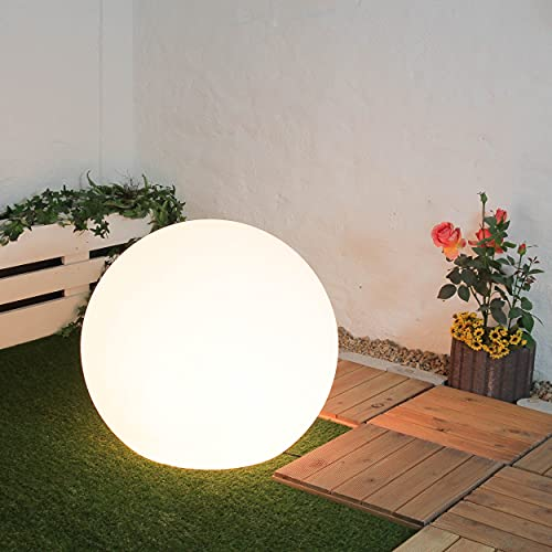 Gartenleuchte Kugel weiß Durchmesser 80 cm E27 max. 60W Kunststoff Wegeleuchte Dekoleuchte außen Kugelleuchte Garten Lampe Außenbereich