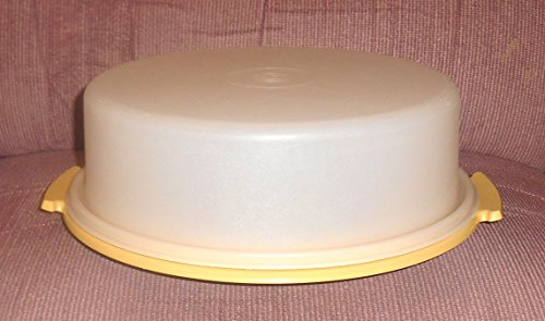 Vintage Tupperware 10' Round Sheer Pie / Single Layer Cake Taker Carrier with Gold Tray