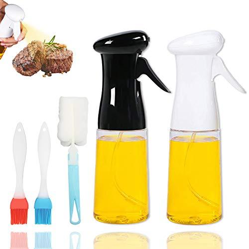 Oil Sprayer for Cooking,Food Grade Spray Bottle,2 Pack Olive Oil Sprayer for Cooking Air Fryer Grilling BBQ Roasting Baking Salad,Refillable Oil Dispenser Bottle Mister - 7oz / 210ml