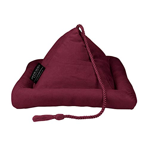 Peeramid Bookrest - Pyramid Book Holder Stand for Hands Free Reading - Soft Pillow Design Holds Books, Tablets, E-Readers, Kindles & iPads – Use on Bed, Couch, Floor, Desk, Table, Lap & More - Burgundy