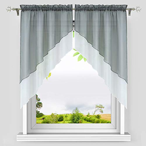 Yujiao Mao Sheer Voile Swag Curtain Window Valance Rod Pocket Double Layer Roman Shades Kitchen Curtain, 2pcs(Grey,W31 x L31 inch)