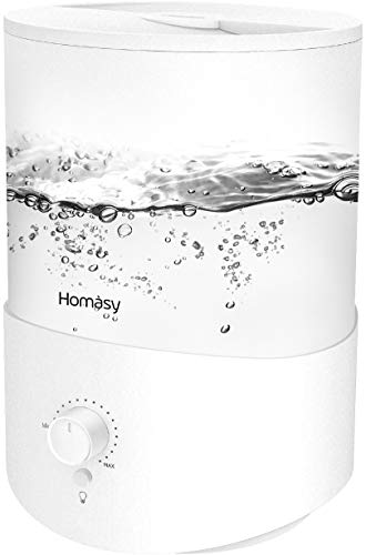Homasy Humidifier, 2.5L Essential Oil Diffuser, Top Fill Humidifier for Bedroom, Air Humidifier with Adjustable Mist Output, Sleep Mode, Auto Shut Off, white (HM583A)