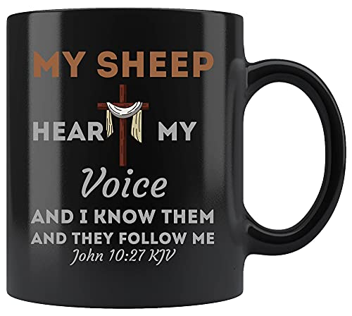 Dios tazas de café tazas - camiseta cristiana Biblia versículo de las escrituras Juan 1027 Jesús negro taza de 11 oz