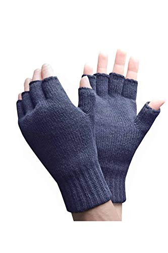 HEAT HOLDERS - Herren Thermisch Winter Outdoor Fleece Fingerlose Handschuhe in 2 Farben (Mens fingerless) (Marine)