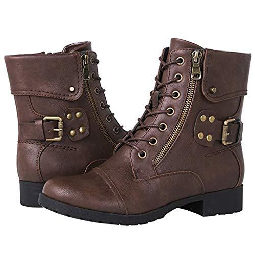 Xinantime Mujer Botas Cortas Zapatos Bolsillo Exterior Zip Combate Militar Moda Invierno Mitad De Pantorrilla Botas Mujer Ocio Roma Talla Grande Cremallera Cuadrado Med Talones