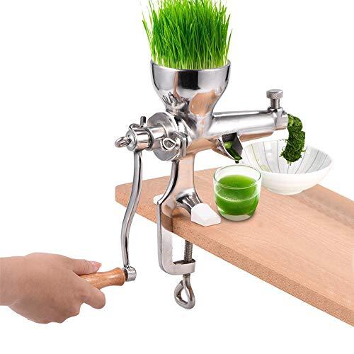 Entsafter, Mastizier-Entsafter-Maschine, Weizengras-Mixer 304 Edelstahl-Weizengras-Extraktionsmühle Gemüse Blatt Ergonomisch manuell Entsafter-Extraktor Tragbare Maschine (manuell), Silber