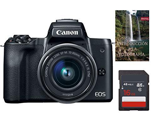 Cámara Canon EOS M50 EF-M 15-45mm f/3.5-6.3 IS STM + Tarjeta SDHC de 16gb UHS-I, Negro