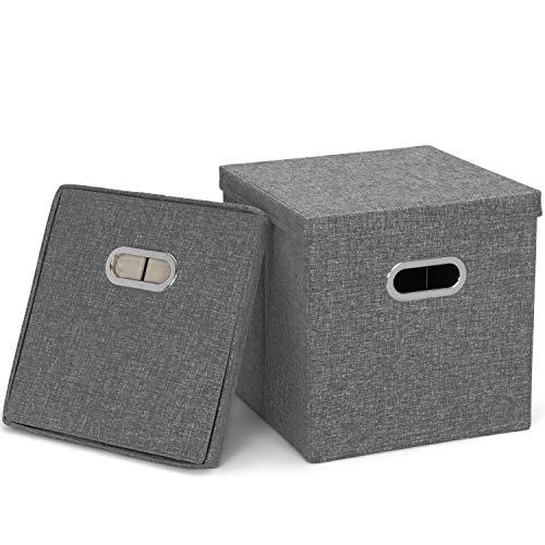 MOOcom! 2 cajas de almacenamiento con tapa gris, 31 x 31 x 31 cm (gris).